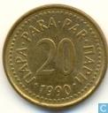 Jugoslawien 20 Para 1990