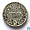 Netherlands 10 cents 1849 (with point - Willem II)