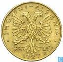 Albanië 10 franga ari 1927
