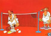 Badminton shuttle op neus