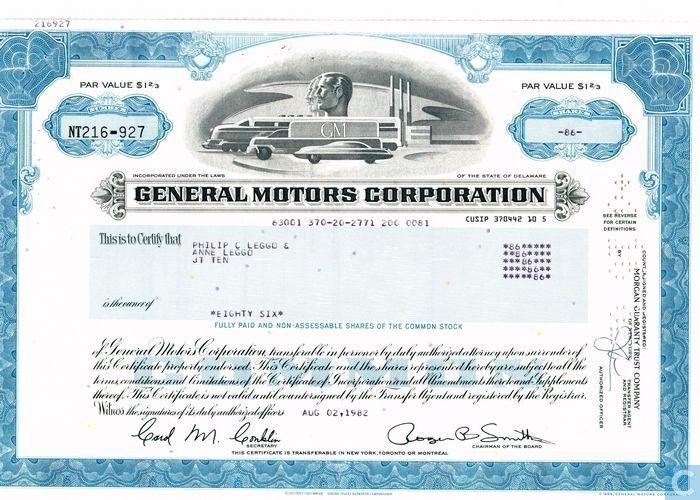 General motors corporation odd share certificate common for General motors asset management corp