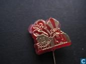 Sinterklaas en Zwarte Piet [goud op rood]
