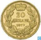 Serbien 20 Dinara 1879