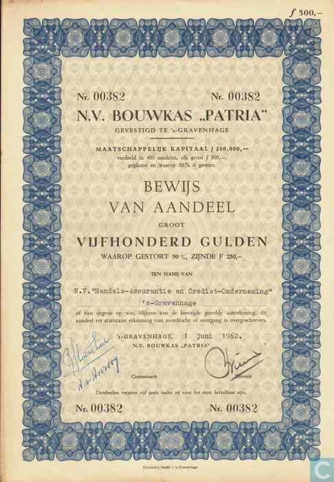 N v bouwkas patria bewijs van aandeel 500 gulden for Gulden interieur b v