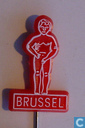 Brussel (Manneken Pis) [white on red[