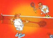 tennis met dubbelracket