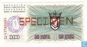 Bosnia Herzegovina 100 Dinara SPECIMEN