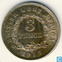 British West Africa 3 pence 1913 (with H)