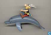 Asterix zittend op dolfijn