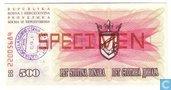 Bosnia Herzegovina 500 Dinara SPECIMEN