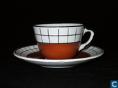Granit espresso kop en schotel bruin