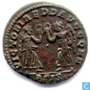 Romeinse Keizerrijk Siscia AE4 Kleinfollis van Keizer Constans 347-348