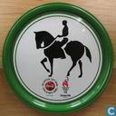 """Coca Cola Olympische Spelen 1996 metalen onderzetter """"Dressuur"""" (groen)"""