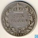 Royaume Uni 6 pence 1893