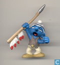 Indian Smurf with spear