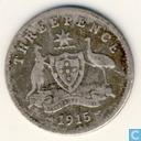 """Australië 3 pence 1915 """"London mint"""""""