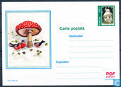 Briefkaart paddenstoelen postwaardestuk