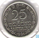 Sri Lanka 25 cents 1991