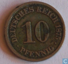 Empire allemand 10 pfennig 1875 (J)