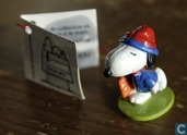 Snoopy with blue shirt and red and blue cap