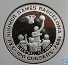 "Suriname 100 Guilders 1992 (PROOF - 999) ""1992 Barcelona Olympics - Basketball"""