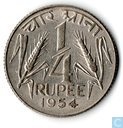 India ¼ rupee 1954 (Calcutta)