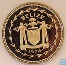 "Belize 25 cents 1974 (PROOF) ""Avifauna of Belize - Blue-crowned Motmot"""
