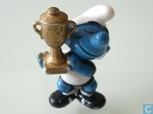 Smurf football with cup