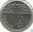 "Latvia 2 lati 1993 ""75th Anniversary of Proclamation of the Republic of Latvia"""