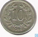 Austria 10 heller 1916 (shield with flag)