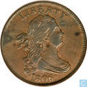 USA 1 / 2 cent 1806 small 6, with stems on reverse