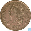 United States 1/2 cent 1809 9 over 6