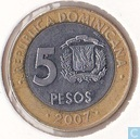 Dominican Republic 5 pesos 2007