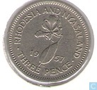 Rhodesia and Nyasaland 3 pence 1957