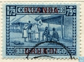 Charity. Belgian Congo Stamps 'milk drop' with print