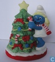 Smurfette with Christmas tree