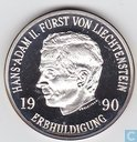 "Liechtenstein 10 franken 1990 ""Succession of Hans Adam II"""