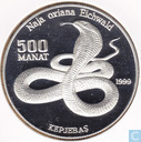 "Turkmenistan 500 manat 1999 (PROOF) ""Endangered Wildlife Series - Cobra"""