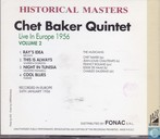 Disques vinyl et CD - Baker, Chet - Historical Masters Chet Baker Quintet Live in Europe 1956 Volume 2