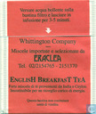 Sachets et étiquettes de thé - WhittingtoN -  1 EnglisH BreakfasT TeA