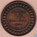 Tunisia 10 centimes 1904 (year 1322)