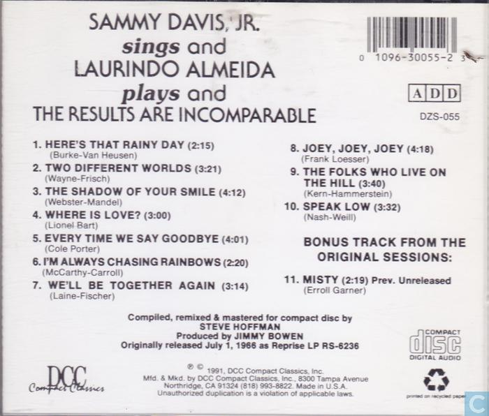 Sammy Davis Jr Sings The Big Ones For Young Lovers