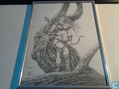 Mike Ratera original drawing woman with ARC