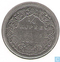 British India ¼ rupee 1862 (Mumbai/Bombay)
