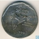 "India 2 rupees 1990 (Calcutta) ""National Integration"""