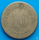 Empire allemand 10 pfennig 1874 (E)