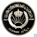 "Jordan 10 dinars 1985 (PROOF - year 1406) ""50th birthday of King Hussein"""