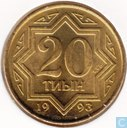 Kazachstan 20 tyin 1993 (zink bekleed met messing)