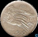 "Italie 500 lire 1961 ""Italian Unification Centennial"""
