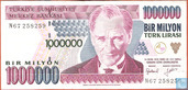 Turquie 1 million Lira ND (1995/L1970) P209a2